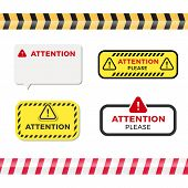 Attention Signs Set. Caution Alert Symbols Collection. Exclamation Vector Illustration poster