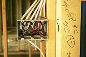 stock photo of 2x4  - Electrical box in a new home under construction - JPG