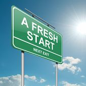 stock photo of fresh start  - Illustration depicting a green roadsign with a fresh start concept - JPG