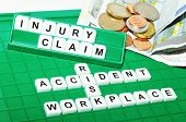 picture of workplace accident  - Injury claim concept with key words and cash compensation - JPG