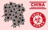 Coronavirus Collage Hunan Province Map And Red Grunge Stamp Watermarks With Biohazard Sign. Hunan Pr poster