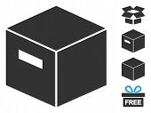 Goods Box Icon. Illustration Contains Vector Flat Goods Box Pictograph Isolated On A White Backgroun poster