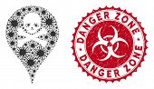 Coronavirus Mosaic Danger Zone Map Marker Icon And Round Grunge Stamp Seal With Danger Zone Caption. poster