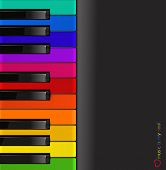 vector colorful piano keyboard on a black background