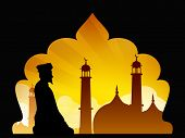 stock photo of namaz  - Silhouette of a Muslim man reading Namaz in Mosque or Masjid - JPG
