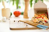 Thai Food Pad Thai. Noodles With Shrimp, Vegetables And Sesame With Soy Sauce poster