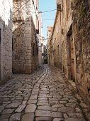 Beauty Old Narrow Alley In Unesco Town, Trogir