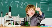 Fascinating Subject. Knowledge Day. Kid Study Biology Chemistry. Boy Microscope And Test Tubes Schoo poster