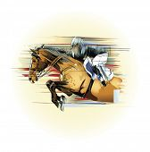 Vector illustration  of a jumping horse and jockey