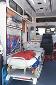 stock photo of medical equipment  - ambulance equipment into the emergency vehicle and medical equipment - JPG