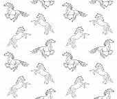 Vector Seamless Equestrian Pattern Of Hand Drawn Doodle Sketch Running Horse Isolated On White Backg poster