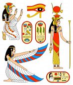 Egyptian goddess Isis. Rasterized version of vector illustration