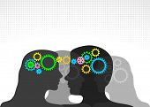 Teamwork background,gears in the heads. Teamwork/connection/communication concept.