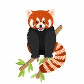 Red Panda. Cute Fluffy Animal Sits On Branch. Endangered Species. Character Design. This Can Be Used poster
