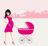 beautiful pregnant woman pushing a stroller , vector illustration