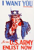stock photo of uncle  - Uncle Sam enlistment poster world war I vintage - JPG