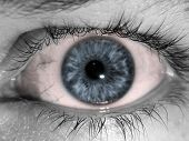 stock photo of pink eyes  - an abstract Blue eye ball black and white with a pink infection - JPG