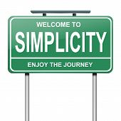 picture of humility  - Illustration depicting a green roadsign with a simplicity concept - JPG