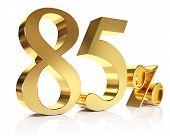 3D de oitenta e cinco por cento em ouro