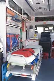 picture of medical equipment  - ambulance equipment into the emergency vehicle and medical equipment - JPG