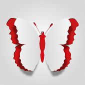 High resolution 3D abstract concept or conceptual white paper with red background butterfly shape or symbol, metaphor to spring,summer,art,beauty,education,elegance,paperwork,card,creative or sticker