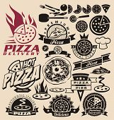 Pizza labels en pictogrammen