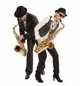 Saxophonist. Woman and man playing on saxophone isolated on background