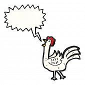cartoon clucking chicken