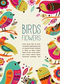 image of primite  - colorful background with cute decorative birds - JPG