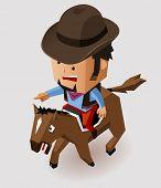 Bandit riding horse. Vector Illustration