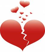 picture of broken hearted  - Faded broken heart with small hearts escaping from large heart - JPG