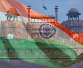 India Flag And Red Fort