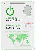 Cartão de identificação, ícone. Ilustração vetorial.