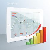 Business  concept: tablet computer with stock market application and  bar chart. Vector illustration