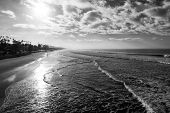 Oceanside Beach. Black and white image of the beach from the pier looking South. Oceanside is 40 mil