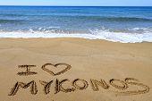 I Love Mykonos written on sandy beach
