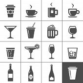 stock photo of tumblers  - Drinks and beverages icon set - JPG