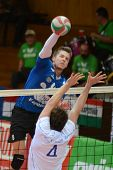 KAPOSVAR, HUNGARY - APRIL 15: Roland Gergye (in blue) in action at a Hungarian National Championship