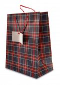 Plaid blue red shopping bag with blank label