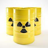 imagem 3D de amarelo barell radioativo