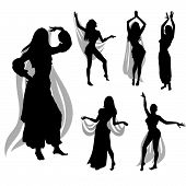 stock photo of belly-dance  - Set of woman silhouette dancing Belly dance - JPG