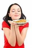 Beautiful girl and pizza isolated on white