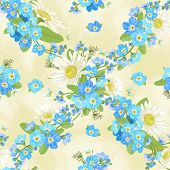 Seamless pattern with chamomiles and forget me not, in vintage style.