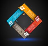 Infographic design template with paper tags. Idea to display information, ranking and statistics wit