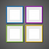 Vector set of square frames of different colors
