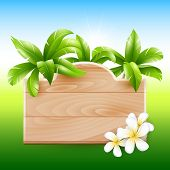Tropical design. Palms and poster board with flowers