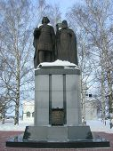 A Monument Of Saints Konung Georgiy Vsevolodovich And Mitropolit Simon Suzdalskiy.