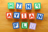 stock photo of avian flu  - H7N9 bird flu toy block - JPG
