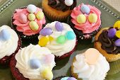 Cupcakes with oval eggs