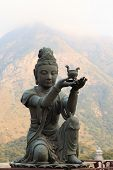 pic of lantau island  - Buddhistic statue praising and making offerings to the Tian Tan Buddha - JPG